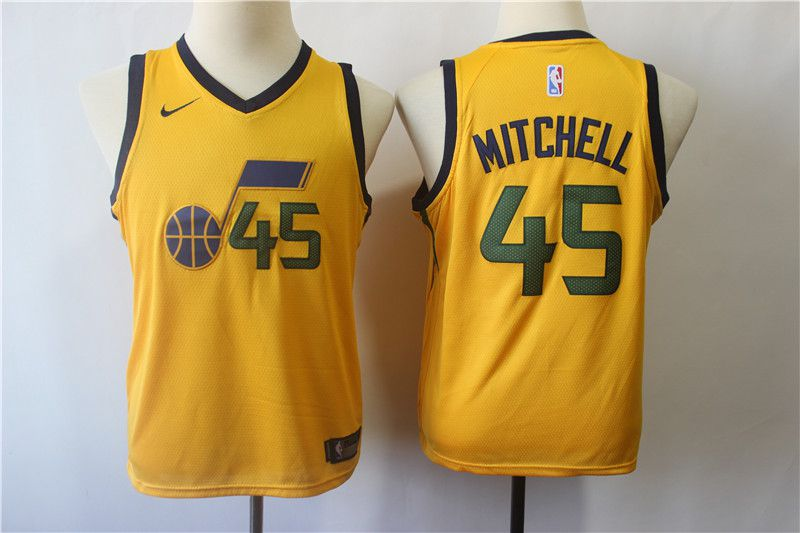 Youth Utah Jazz 45 Mitchell Yellow Nike NBA Jerseys