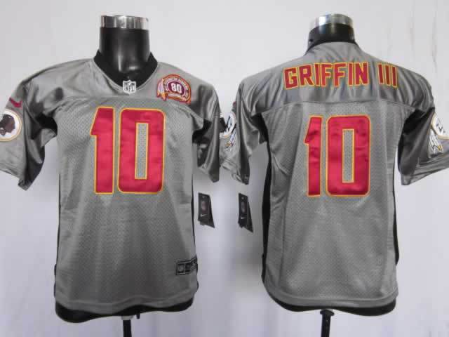 Youth Washington Redskins 10 Griffin III grey Nike NFL Jerseys