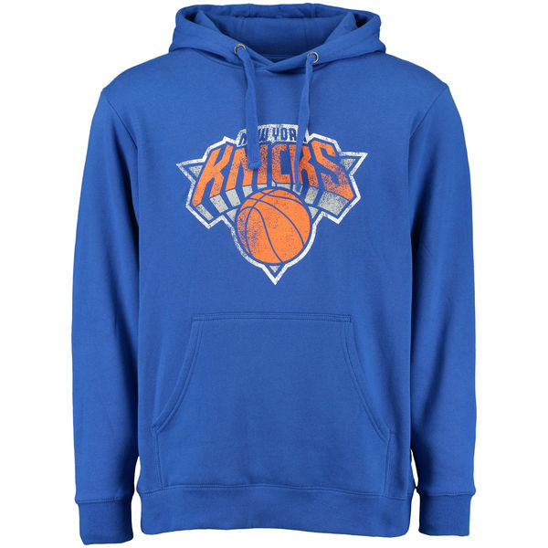 Men New York Knicks Distressed Hoodie Blue