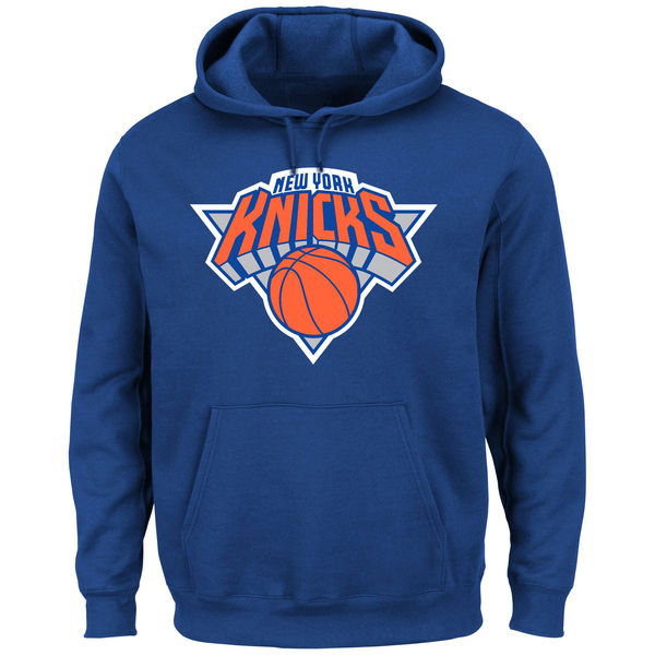 Men New York Knicks Majestic Current Logo Tech Patch Pullover Hoodie Blue