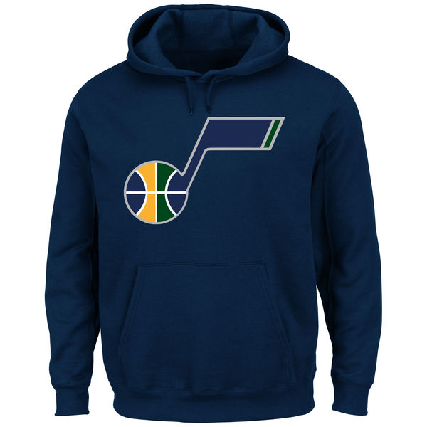 Men Utah Jazz Majestic Current Logo Tech Patch Pullover Hoodie Navy