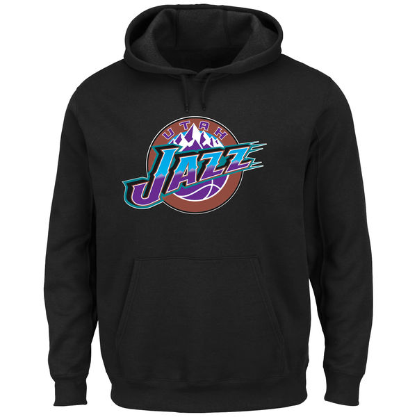 Men Utah Jazz Majestic Hardwood Classics Tech Patch Pullover Hoodie Black