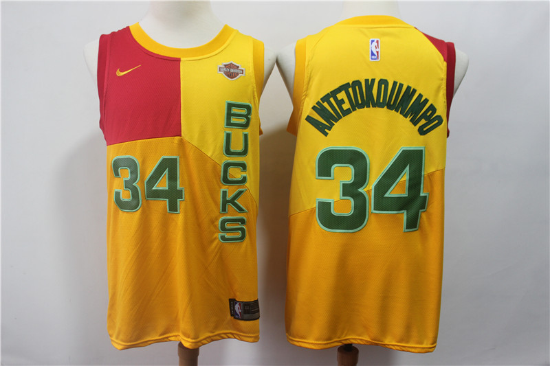 2019 Men Milwaukee Bucks 34 Antetokounmp yellow city edition Nike NBA Jerseys