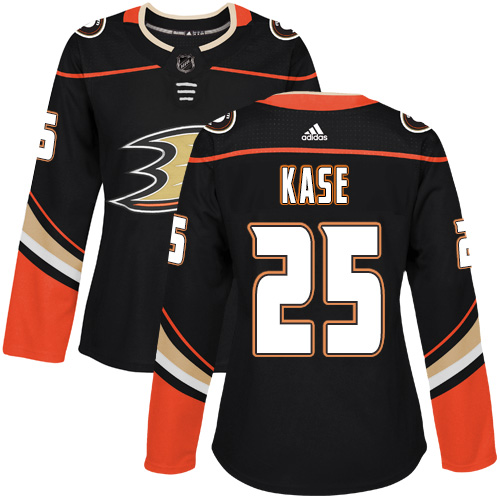 Adidas Anaheim Ducks 25 Ondrej Kase Black Home Authentic Womens Stitched NHL Jersey