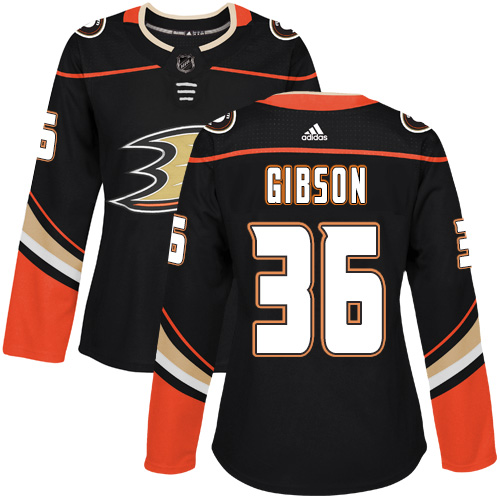 Adidas Anaheim Ducks 36 John Gibson Black Home Authentic Womens Stitched NHL Jersey