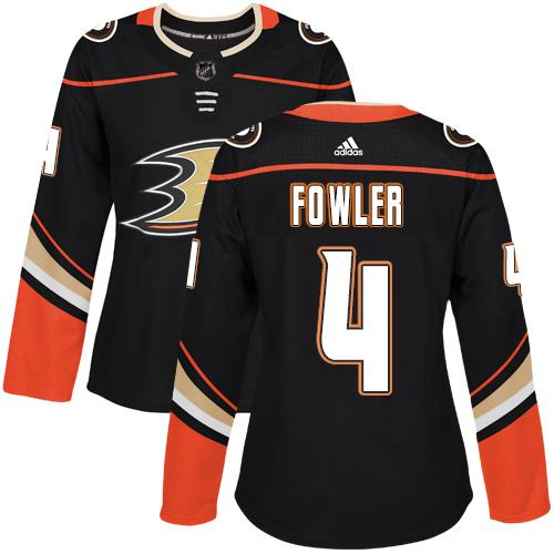 Adidas Anaheim Ducks 4 Cam Fowler Black Home Authentic Womens Stitched NHL Jersey