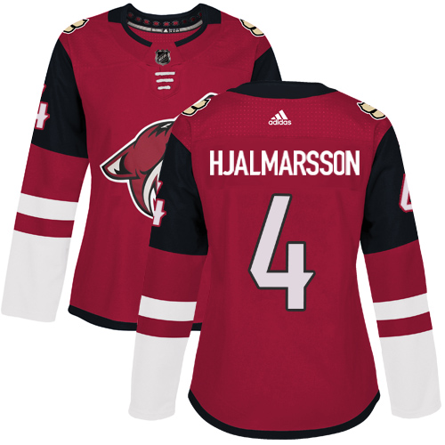Adidas Arizona Coyotes 4 Niklas Hjalmarsson Maroon Home Authentic Women Stitched NHL Jersey