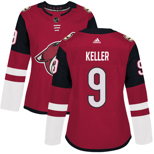 Adidas Arizona Coyotes 9 Clayton Keller Maroon Home Authentic Women Stitched NHL Jersey