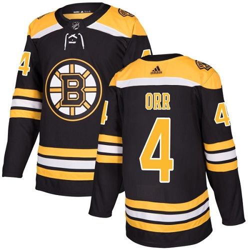 Adidas Boston Bruins 4 Bobby Orr Black Home Authentic Youth Stitched NHL Jersey