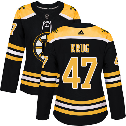 Adidas Boston Bruins 47 Torey Krug Black Home Authentic Women Stitched NHL Jersey