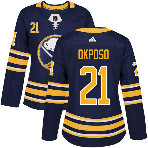 Adidas Buffalo Sabres 21 Kyle Okposo Navy Blue Home Authentic Women Stitched NHL Jersey