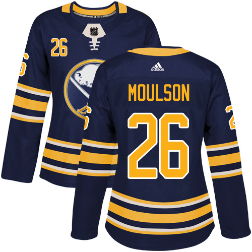 Adidas Buffalo Sabres 26 Matt Moulson Navy Blue Home Authentic Women Stitched NHL Jersey