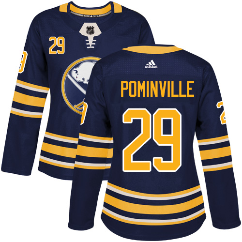 Adidas Buffalo Sabres 29 Jason Pominville Navy Blue Home Authentic Women Stitched NHL Jersey