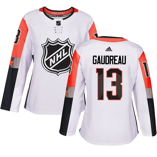 Adidas Calgary Flames 13 Johnny Gaudreau White 2018 All-Star Pacific Division Authentic Women Stitched NHL Jersey