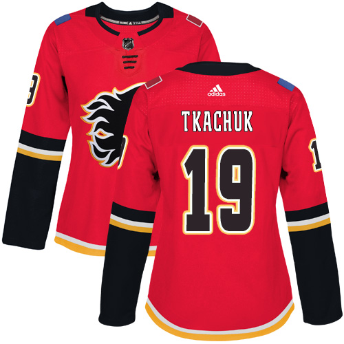 Adidas Calgary Flames 19 Matthew Tkachuk Red Home Authentic Women Stitched NHL Jersey