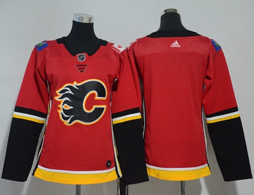 Adidas Calgary Flames Blank Red Home Authentic Women Stitched NHL Jersey