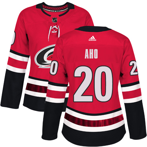Adidas Carolina Hurricanes 20 Sebastian Aho Red Home Authentic Women Stitched NHL Jersey