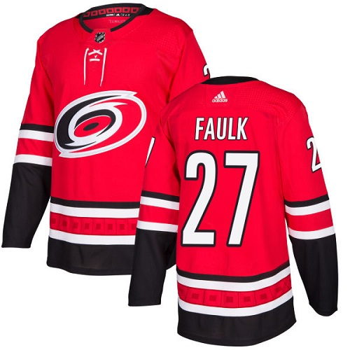 Adidas Carolina Hurricanes 27 Justin Faulk Red Home Authentic Stitched Youth NHL Jersey