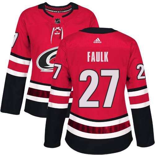 Adidas Carolina Hurricanes 27 Justin Faulk Red Home Authentic Women Stitched NHL Jersey