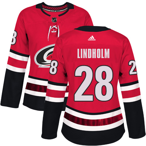 Adidas Carolina Hurricanes 28 Elias Lindholm Red Home Authentic Women Stitched NHL Jersey