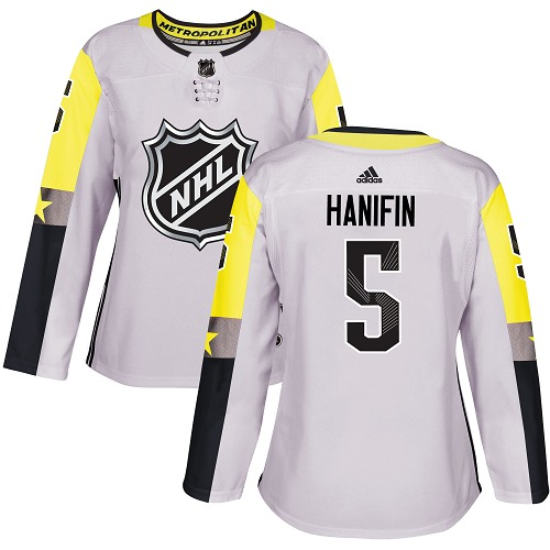 Adidas Carolina Hurricanes 5 Noah Hanifin Gray 2018 All-Star Metro Division Authentic Women Stitched NHL Jersey
