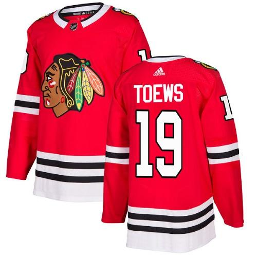 Adidas Chicago Blackhawks 19 Jonathan Toews Red Home Authentic Stitched Youth NHL Jersey