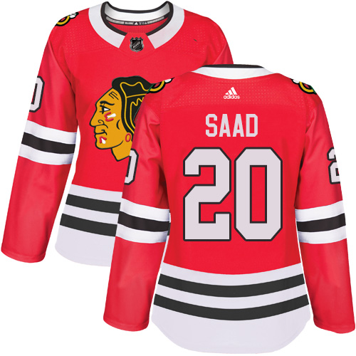Adidas Chicago Blackhawks 20 Brandon Saad Red Home Authentic Women Stitched NHL Jersey