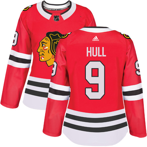 Adidas Chicago Blackhawks 9 Bobby Hull Red Home Authentic Women Stitched NHL Jersey