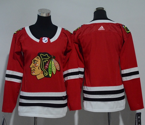 Adidas Chicago Blackhawks Blank Red Home Authentic Women Stitched NHL Jersey