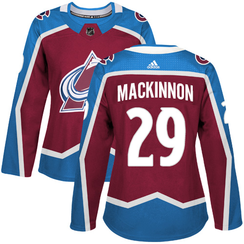 Adidas Colorado Avalanche 29 Nathan MacKinnon Burgundy Home Authentic Women Stitched NHL Jersey