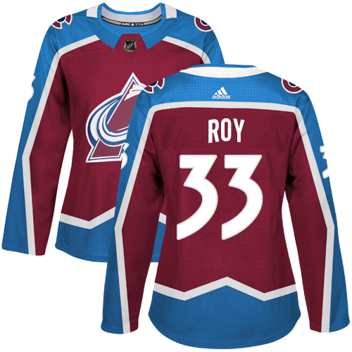 Adidas Colorado Avalanche 33 Patrick Roy Burgundy Home Authentic Women Stitched NHL Jersey