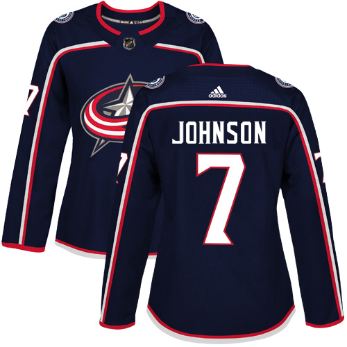 Adidas Columbus Blue Jackets 7 Jack Johnson Navy Blue Home Authentic Women Stitched NHL Jersey