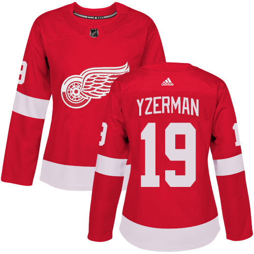 Adidas Detroit Red Wings 19 Steve Yzerman Red Home Authentic Women Stitched NHL Jersey