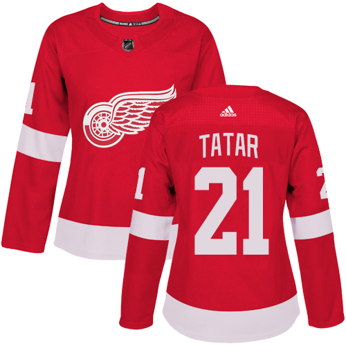 Adidas Detroit Red Wings 21 Tomas Tatar Red Home Authentic Women Stitched NHL Jersey