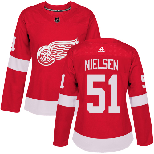 Adidas Detroit Red Wings 51 Frans Nielsen Red Home Authentic Women Stitched NHL Jersey
