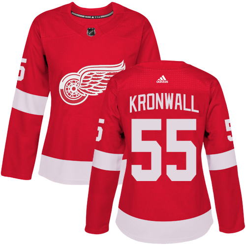Adidas Detroit Red Wings 55 Niklas Kronwall Red Home Authentic Women Stitched NHL Jersey