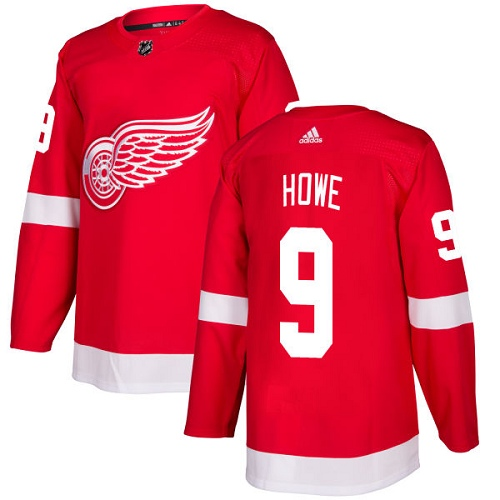 Adidas Detroit Red Wings 9 Gordie Howe Red Home Authentic Stitched Youth NHL Jersey