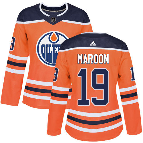 Adidas Edmonton Oilers 19 Patrick Maroon Orange Home Authentic Women Stitched NHL Jersey