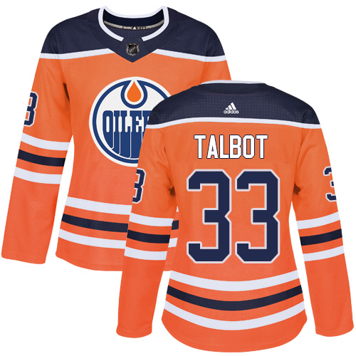 Adidas Edmonton Oilers 33 Cam Talbot Orange Home Authentic Women Stitched NHL Jersey