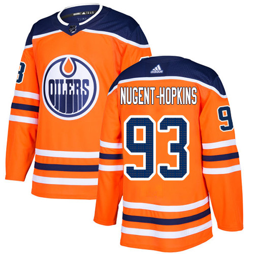 Adidas Edmonton Oilers 93 Ryan Nugent-Hopkins Orange Home Authentic Stitched Youth NHL Jersey
