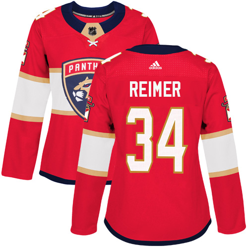 Adidas Florida Panthers 34 James Reimer Red Home Authentic Women Stitched NHL Jersey