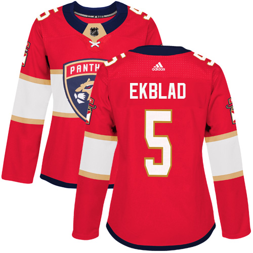 Adidas Florida Panthers 5 Aaron Ekblad Red Home Authentic Women Stitched NHL Jersey