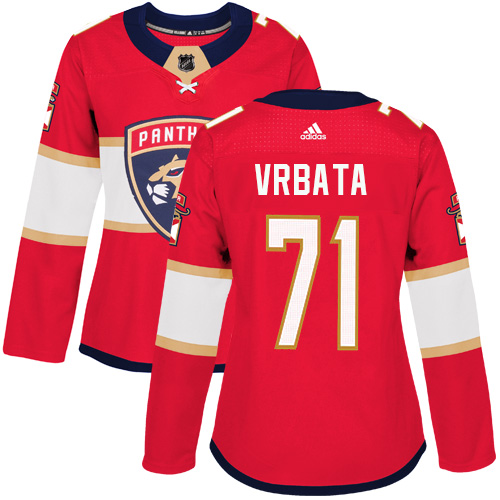 Adidas Florida Panthers 71 Radim Vrbata Red Home Authentic Women Stitched NHL Jersey
