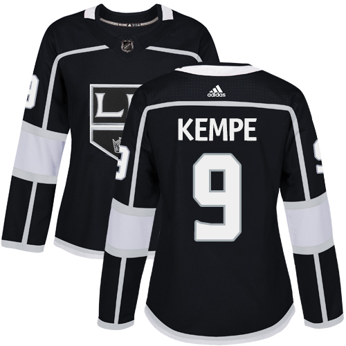 Adidas Los Angeles Kings 9 Adrian Kempe Black Home Authentic Women Stitched NHL Jersey
