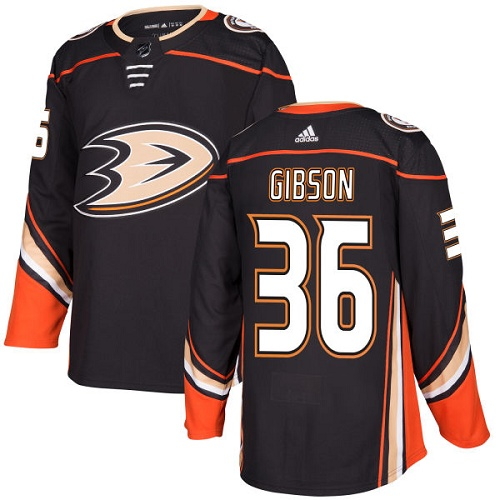 Adidas Men Anaheim Ducks 36 John Gibson Black Home Authentic Stitched NHL Jersey