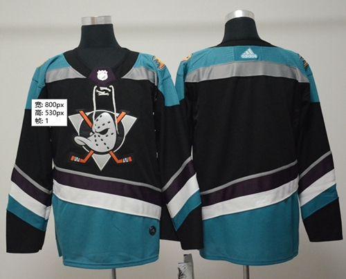 Adidas Men Anaheim Ducks Blank Black Teal Alternate Authentic Stitched NHL Jersey
