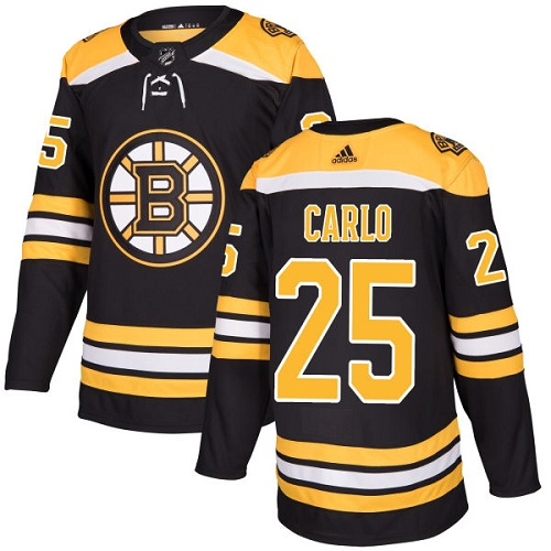 Adidas Men Boston Bruins 25 Brandon Carlo Black Home Authentic Stitched NHL Jersey