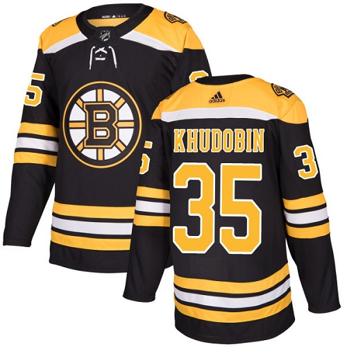Adidas Men Boston Bruins 35 Anton Khudobin Black Home Authentic Stitched NHL Jersey