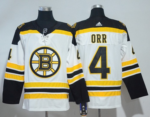 Adidas Men Boston Bruins 4 Bobby Orr White Road Authentic Stitched NHL Jersey