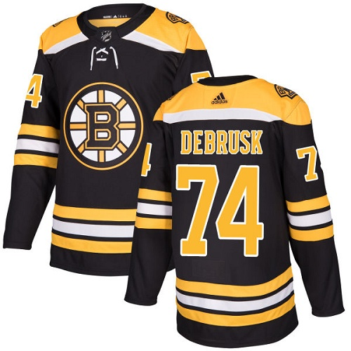Adidas Men Boston Bruins 74 Jake DeBrusk Black Home Authentic Stitched NHL Jersey